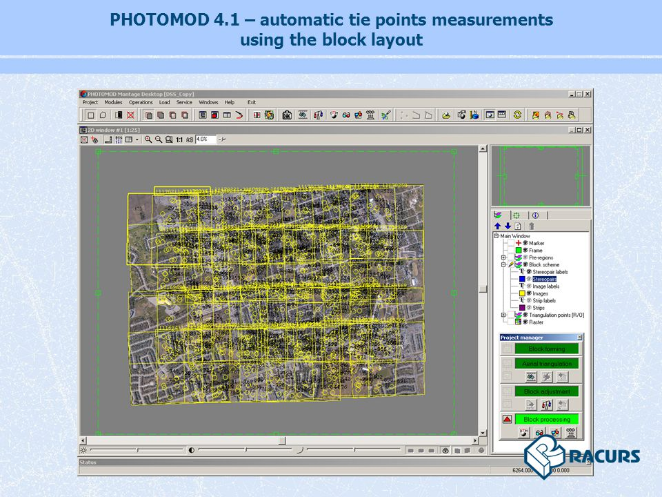 PHOTOMOD 4.1 – automatic tie points measurements using the block layout