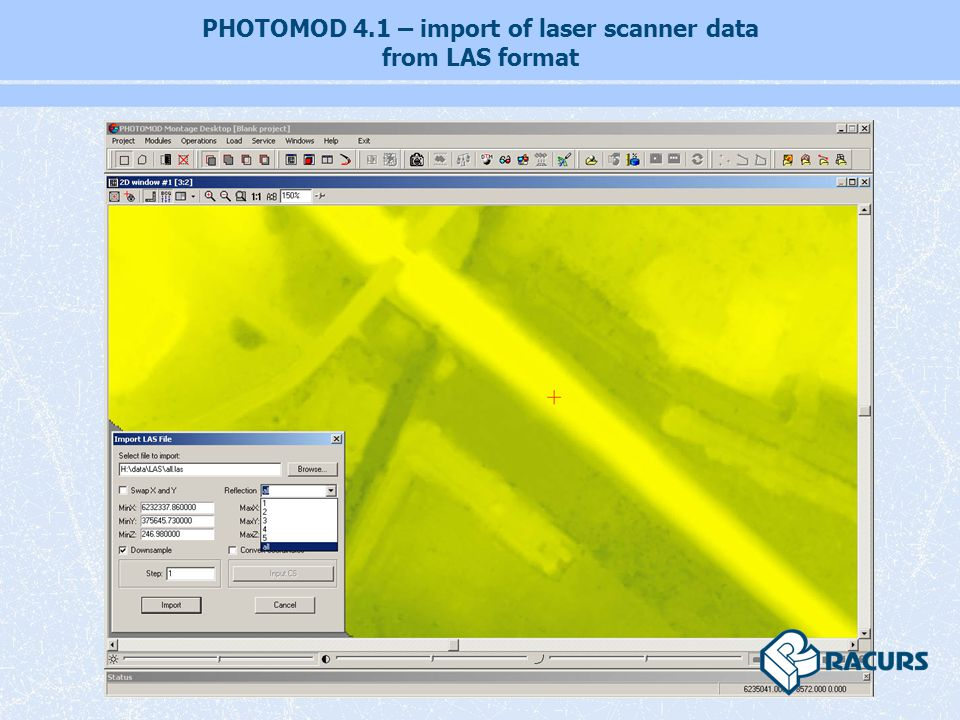 PHOTOMOD 4.1 – import of laser scanner data from LAS format