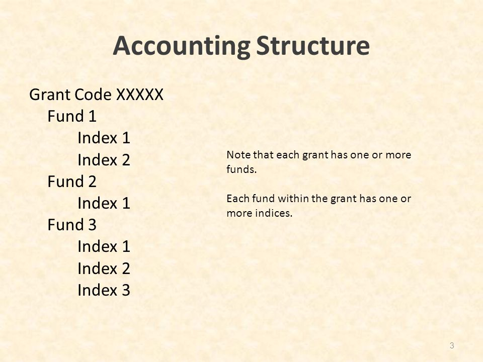 Accounting Structure Grant Code XXXXX Fund 1 Index 1 Index 2 Fund 2 Index 1 Fund 3 Index 1 Index 2 Index 3 3 Note that each grant has one or more fund