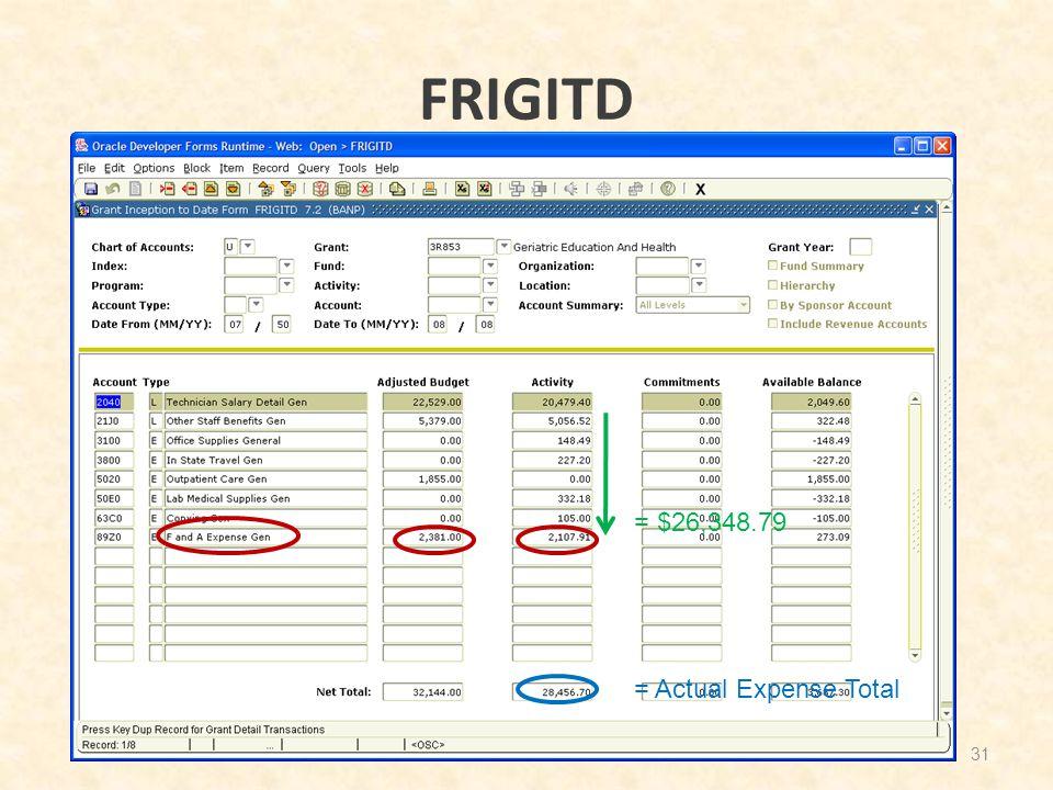 FRIGITD 31 = $26,348.79 = Actual Expense Total