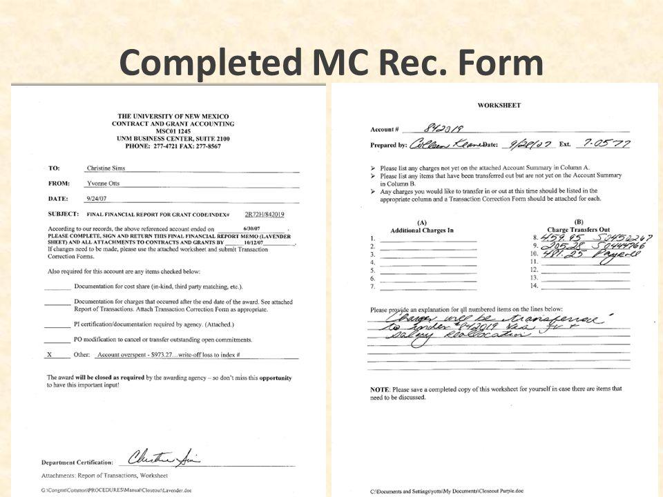 Completed MC Rec. Form 34