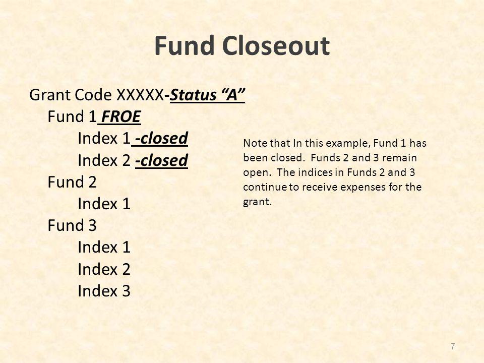 "Fund Closeout Grant Code XXXXX-Status ""A"" Fund 1 FROE Index 1 -closed Index 2 -closed Fund 2 Index 1 Fund 3 Index 1 Index 2 Index 3 7 Note that In thi"