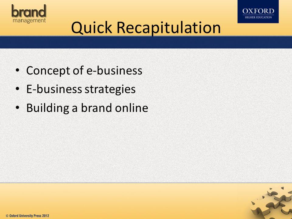 Quick Recapitulation Concept of e-business E-business strategies Building a brand online