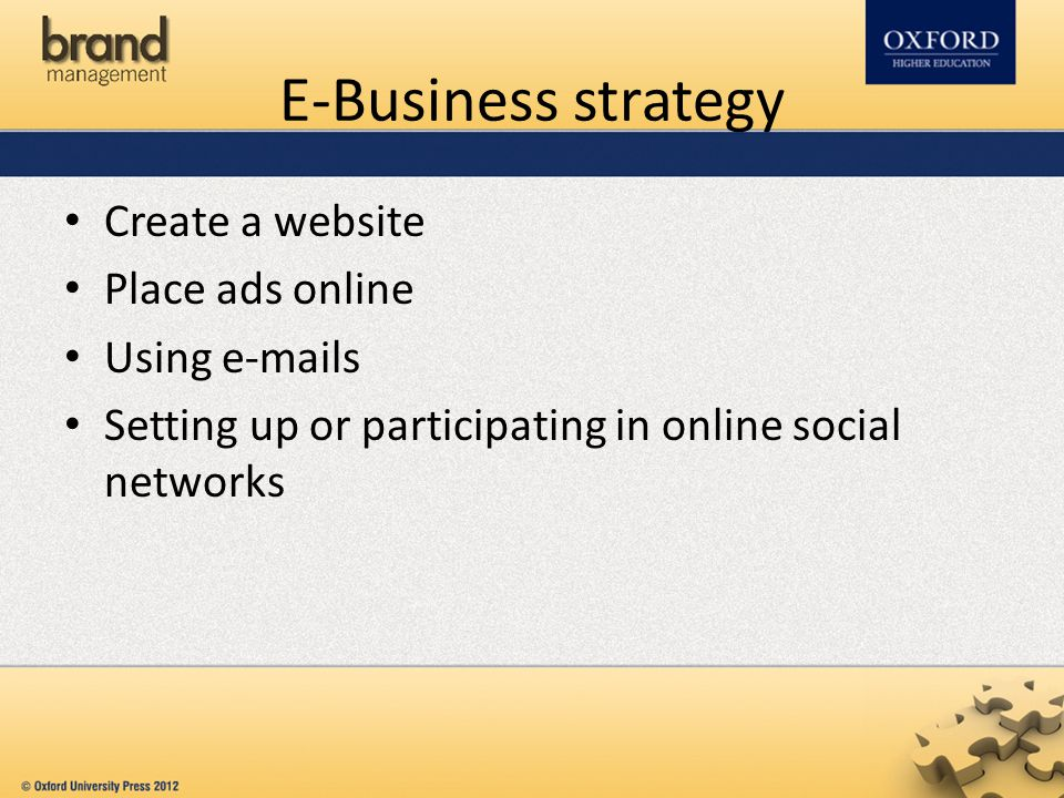 E-Business strategy Create a website Place ads online Using e-mails Setting up or participating in online social networks