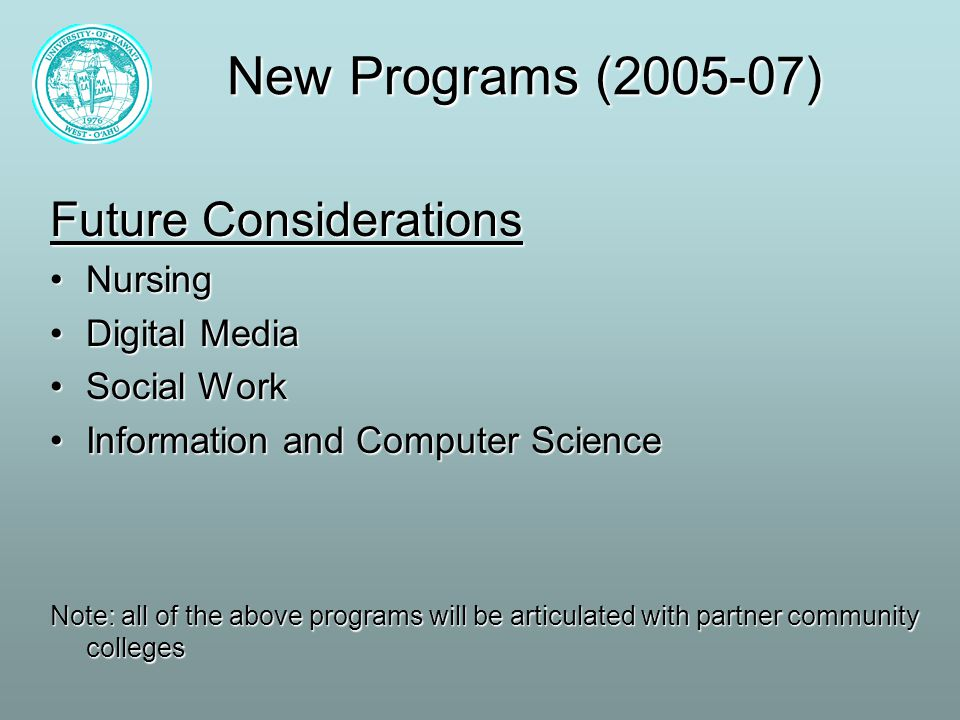 New Programs (2005-07) Future Considerations NursingNursing Digital MediaDigital Media Social WorkSocial Work Information and Computer ScienceInformation and Computer Science Note: all of the above programs will be articulated with partner community colleges
