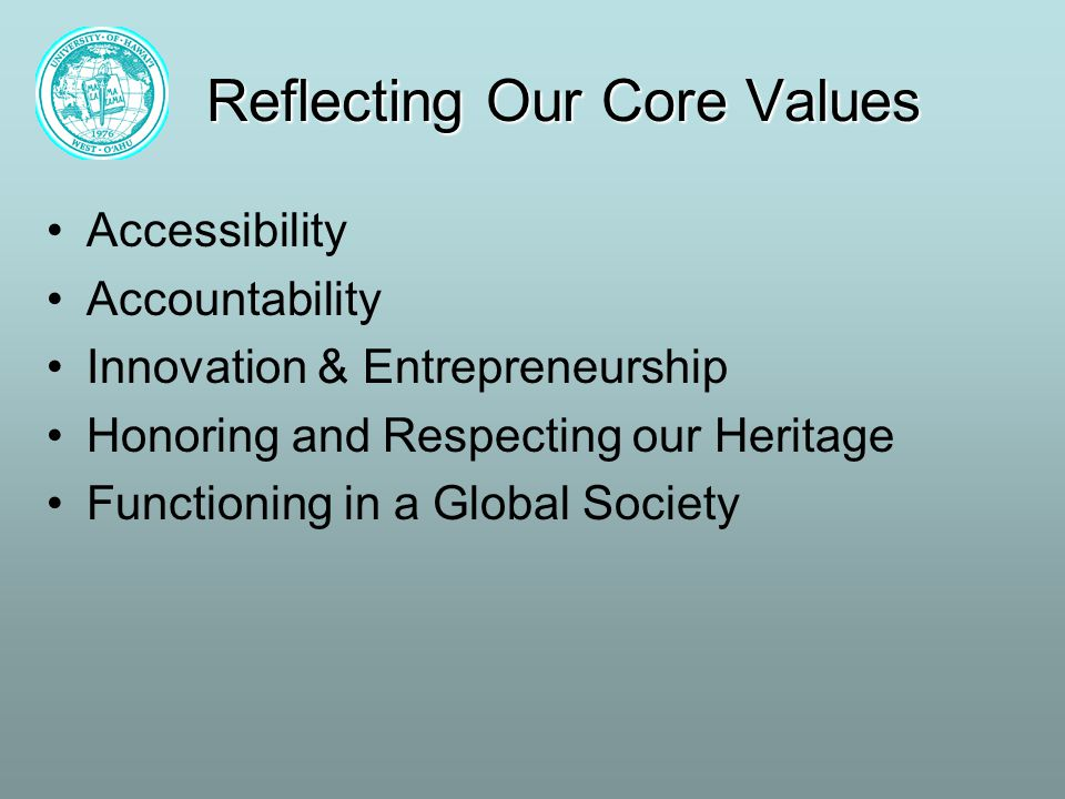 Reflecting Our Core Values Accessibility Accountability Innovation & Entrepreneurship Honoring and Respecting our Heritage Functioning in a Global Society