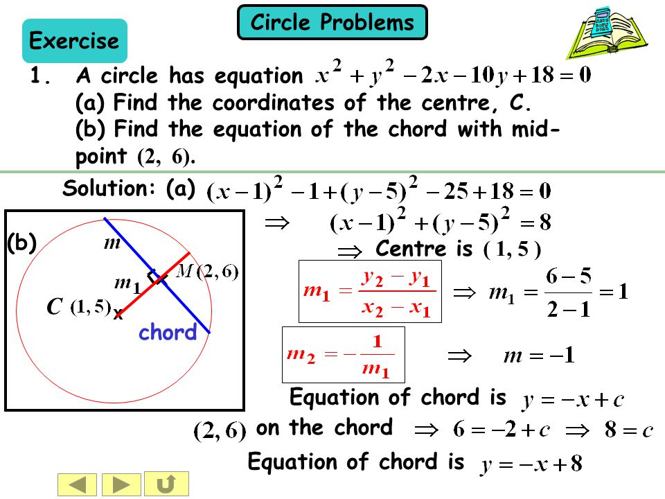 Circle Problems (b) x chord Exercise 1.A circle has equation (a) Find the coordinates of the centre, C. (b) Find the equation of the chord with mid- p