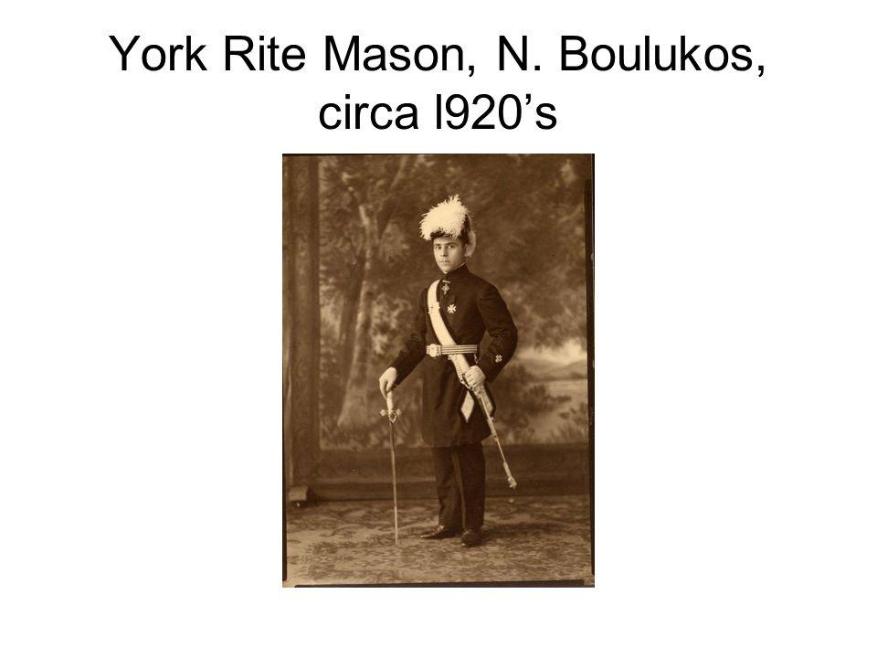 York Rite Mason, N. Boulukos, circa l920's