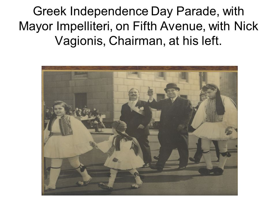 Greek Independence Day Parade, with Mayor Impelliteri, on Fifth Avenue, with Nick Vagionis, Chairman, at his left.