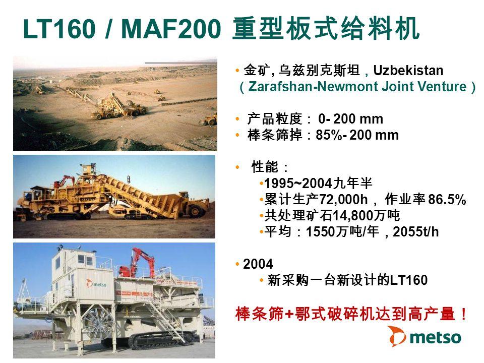 © Metso LT160 / MAF200 重型板式给料机 金矿, 乌兹别克斯坦, Uzbekistan ( Zarafshan-Newmont Joint Venture ) 产品粒度: 0- 200 mm 棒条筛掉: 85%- 200 mm 性能: 1995~2004 九年半 累计生产 72,000h , 作业率 86.5% 共处理矿石 14,800 万吨 平均: 1550 万吨 / 年, 2055t/h 2004 新采购一台新设计的 LT160 棒条筛 + 鄂式破碎机达到高产量!