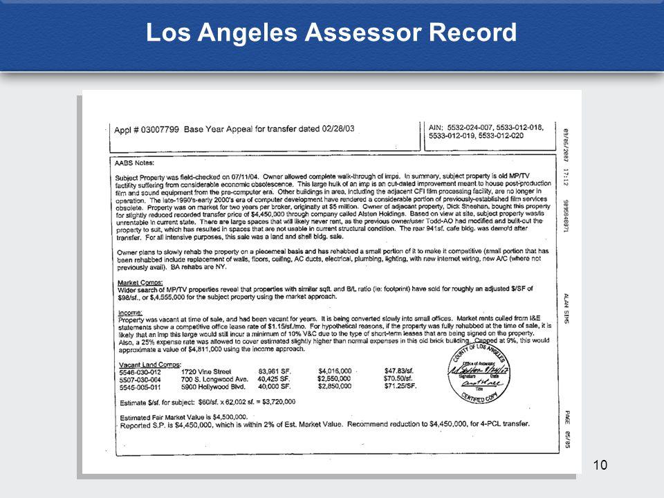 10 Los Angeles Assessor Record