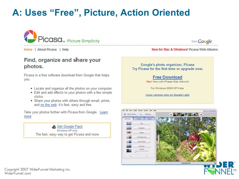 11 A: Uses Free , Picture, Action Oriented