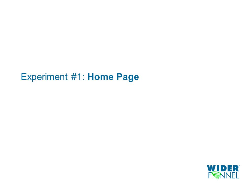 Experiment #1: Home Page