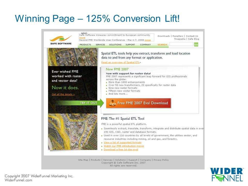 Winning Page – 125% Conversion Lift!