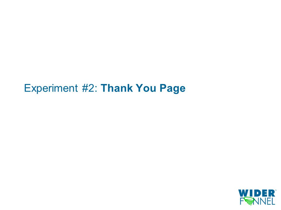 Experiment #2: Thank You Page