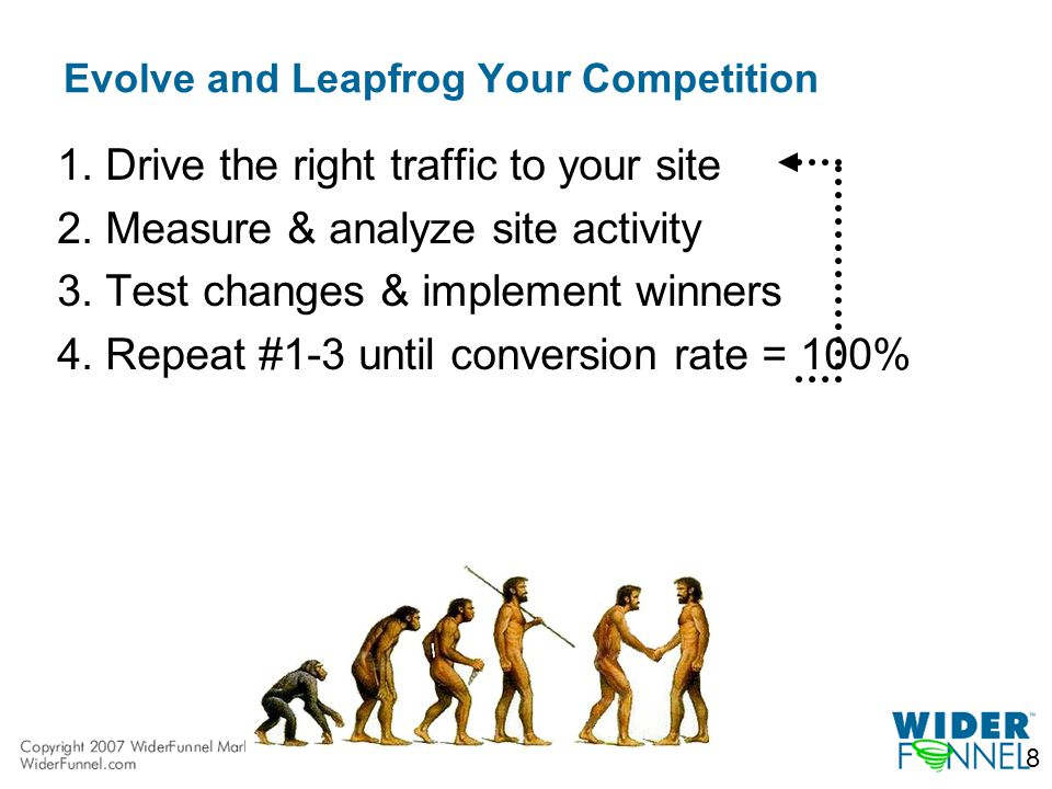 8 Evolve and Leapfrog Your Competition 1.Drive the right traffic to your site 2.Measure & analyze site activity 3.Test changes & implement winners 4.Repeat #1-3 until conversion rate = 100%