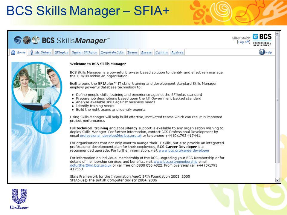 BCS Skills Manager – SFIA+
