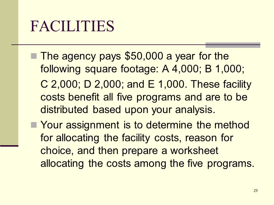 29 FACILITIES The agency pays $50,000 a year for the following square footage: A 4,000; B 1,000; C 2,000; D 2,000; and E 1,000.