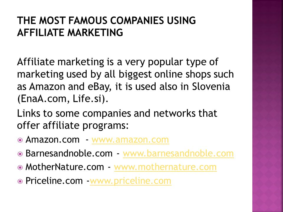 THE MOST FAMOUS COMPANIES USING AFFILIATE MARKETING Affiliate marketing is a very popular type of marketing used by all biggest online shops such as Amazon and eBay, it is used also in Slovenia (EnaA.com, Life.si).