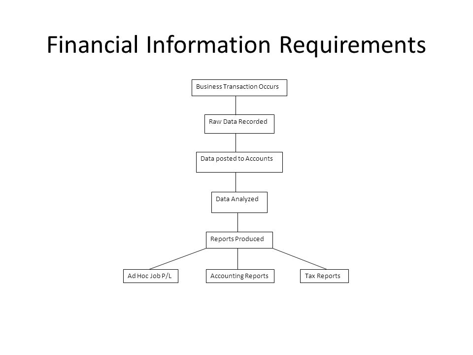 Financial Information Requirements Business Transaction Occurs Raw Data Recorded Data posted to Accounts Data Analyzed Reports Produced Ad Hoc Job P/LAccounting ReportsTax Reports