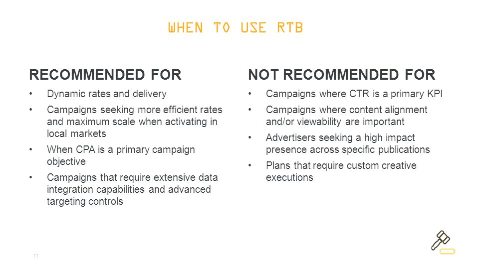 11 RECOMMENDED FOR Dynamic rates and delivery Campaigns seeking more efficient rates and maximum scale when activating in local markets When CPA is a primary campaign objective Campaigns that require extensive data integration capabilities and advanced targeting controls NOT RECOMMENDED FOR Campaigns where CTR is a primary KPI Campaigns where content alignment and/or viewability are important Advertisers seeking a high impact presence across specific publications Plans that require custom creative executions WHEN TO USE RTB