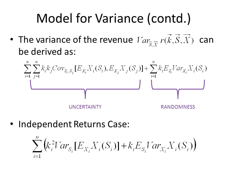 Summary Actual Revenue differs from Estimated Expected Revenue for two reasons – uncertainty and randomness.