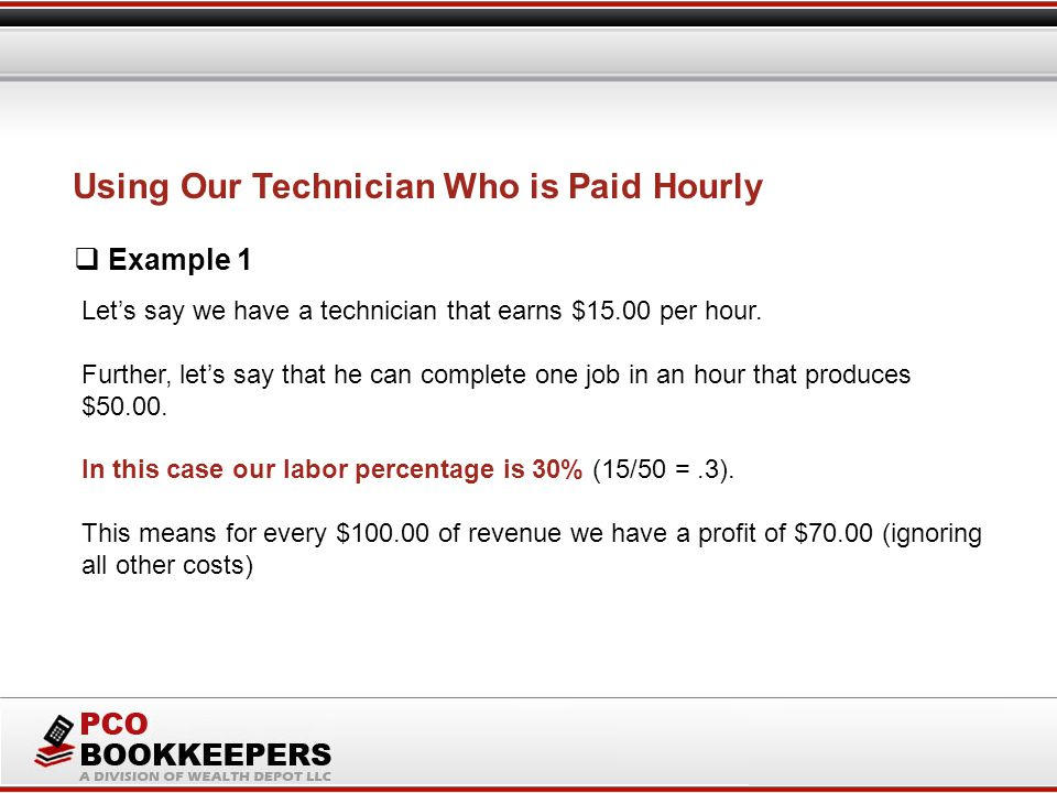 Let's say we have a technician that earns $15.00 per hour.