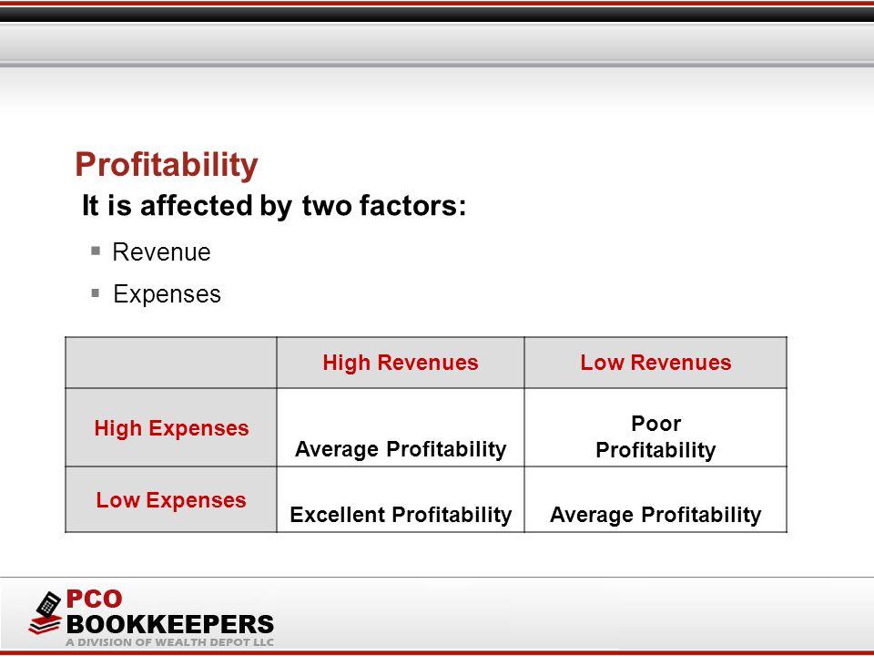 Profitability High RevenuesLow Revenues High Expenses Average Profitability Poor Profitability Low Expenses Excellent ProfitabilityAverage Profitability  Revenue It is affected by two factors:  Expenses