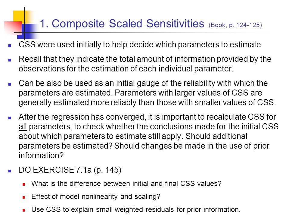 Composite scaled sensitivities from the starting steady-state model 1.
