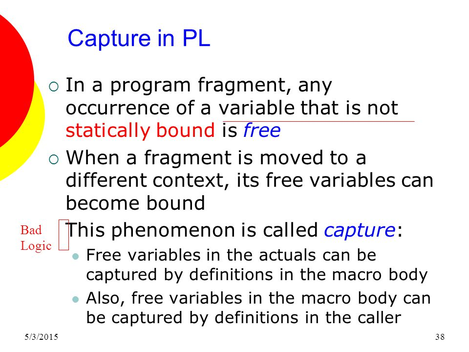 5/3/201538 Capture in PL  In a program fragment, any occurrence of a variable that is not statically bound is free  When a fragment is moved to a different context, its free variables can become bound This phenomenon is called capture: Free variables in the actuals can be captured by definitions in the macro body Also, free variables in the macro body can be captured by definitions in the caller Bad Logic