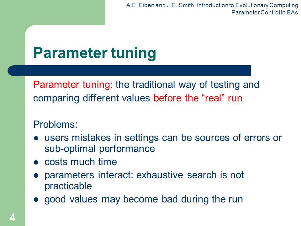 A.E. Eiben and J.E. Smith, Introduction to Evolutionary Computing Parameter Control in EAs 4 Parameter tuning Parameter tuning: the traditional way of