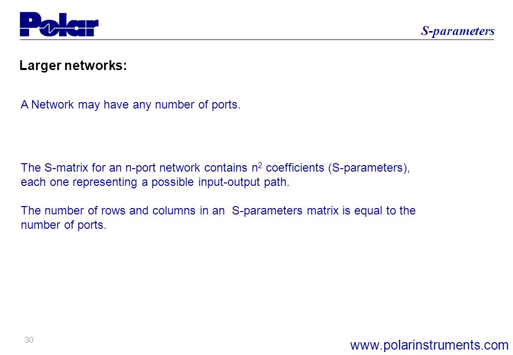 30 S-parameters www.polarinstruments.com Larger networks: A Network may have any number of ports.