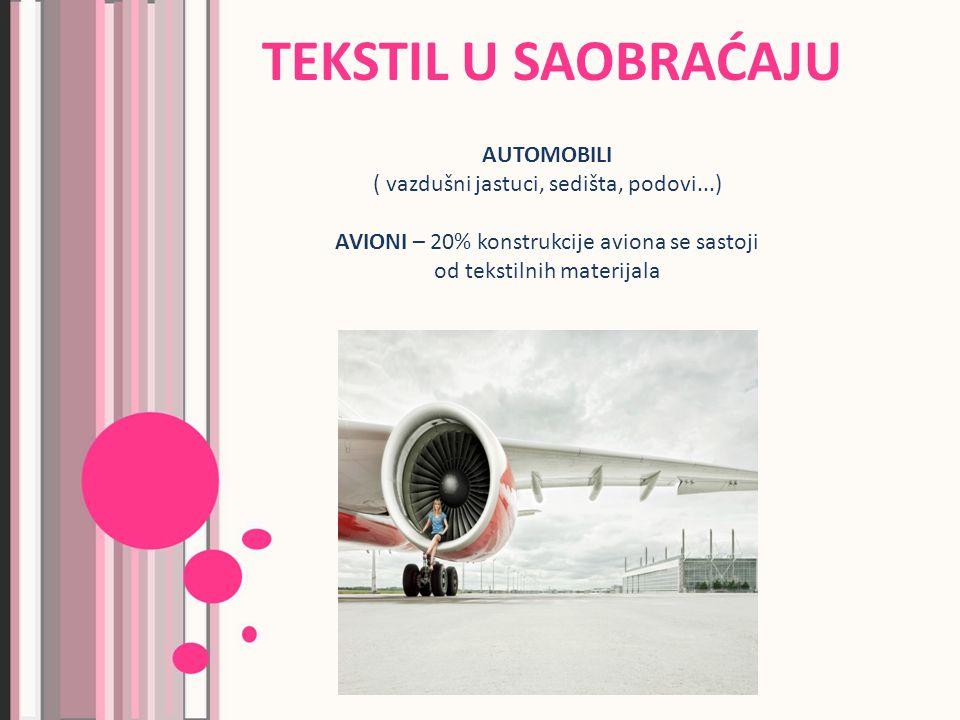 AUTOMOBILI ( vazdušni jastuci, sedišta, podovi...) AVIONI – 20% konstrukcije aviona se sastoji od tekstilnih materijala TEKSTIL U SAOBRAĆAJU