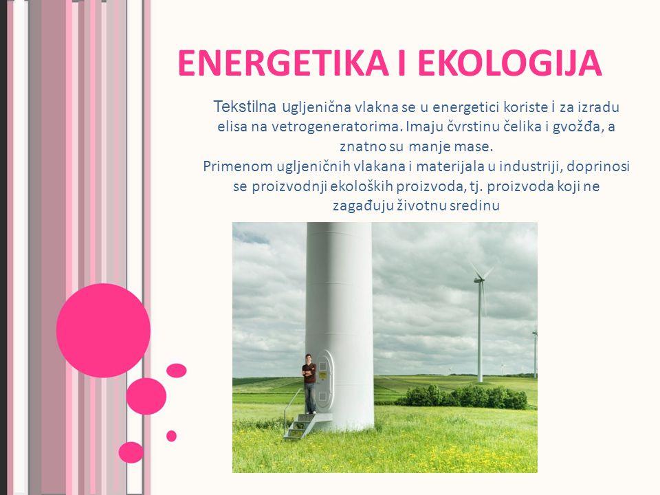 ENERGETIKA I EKOLOGIJA Tekstilna u gljenična vlakna se u energetici koriste i za izradu elisa na vetrogeneratorima.