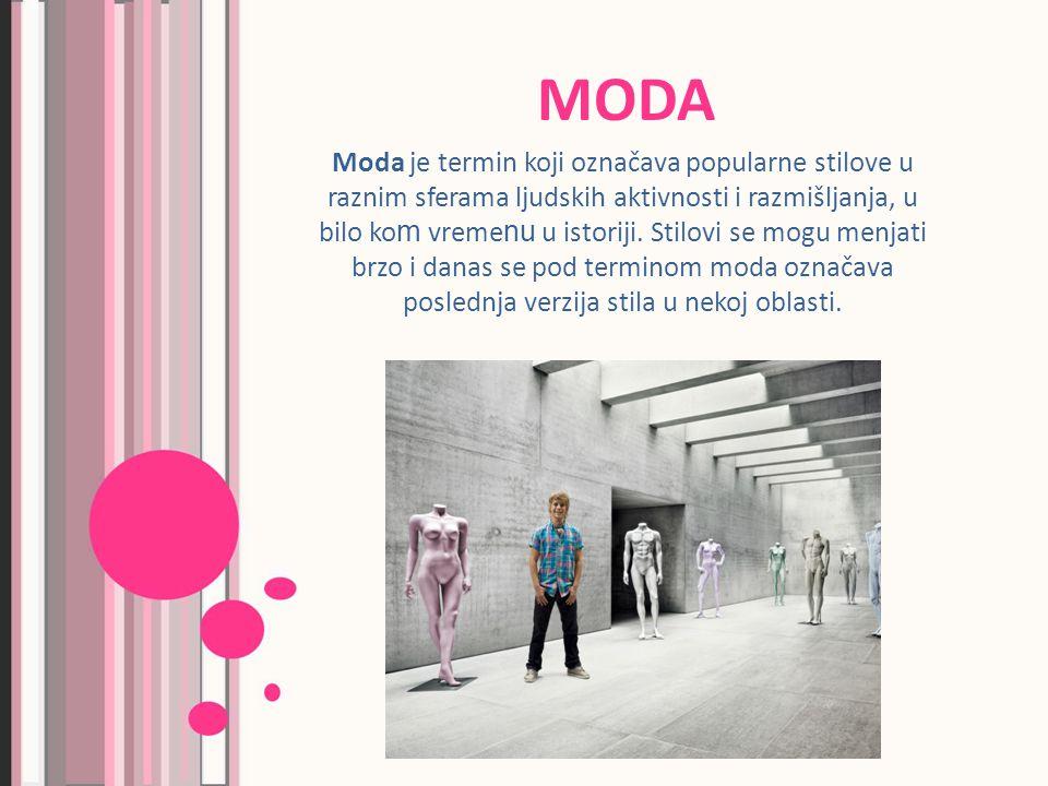 MODA Moda je termin koji označava popularne stilove u raznim sferama ljudskih aktivnosti i razmišljanja, u bilo ko m vreme nu u istoriji.