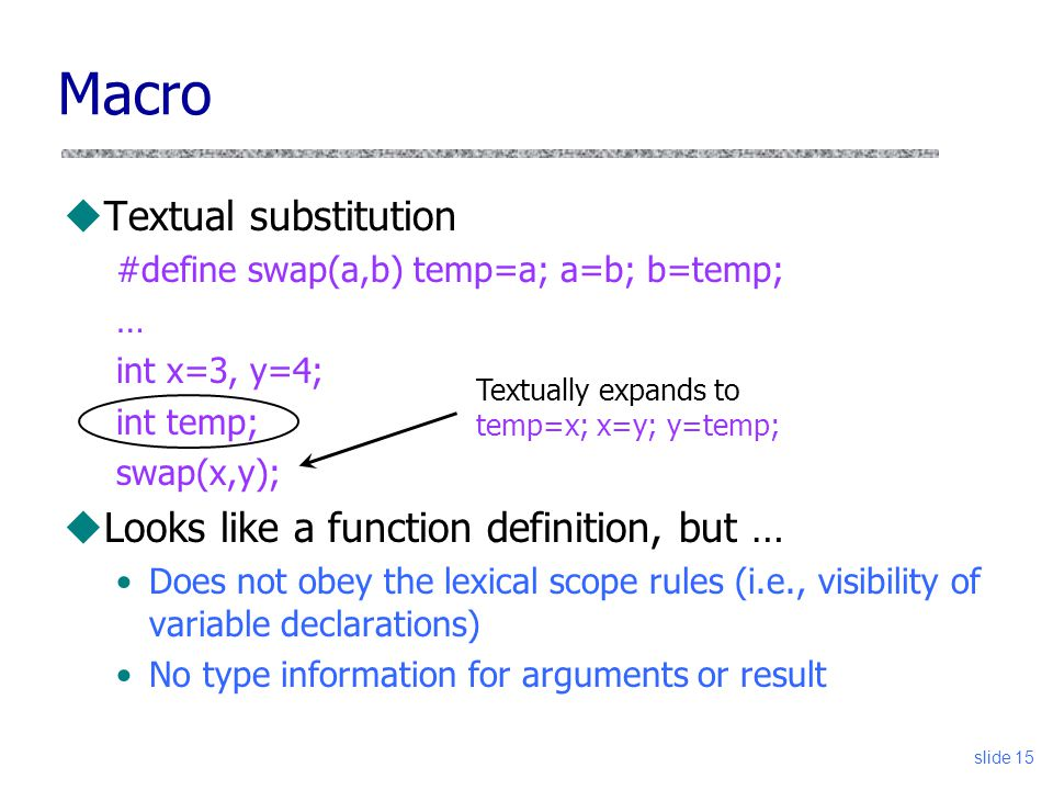 slide 15 Macro uTextual substitution #define swap(a,b) temp=a; a=b; b=temp; … int x=3, y=4; int temp; swap(x,y); uLooks like a function definition, but … Does not obey the lexical scope rules (i.e., visibility of variable declarations) No type information for arguments or result Textually expands to temp=x; x=y; y=temp;