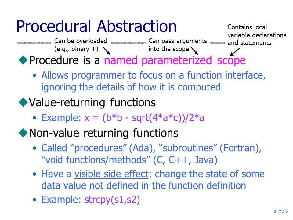 slide 3 Procedural Abstraction uProcedure is a named parameterized scope Allows programmer to focus on a function interface, ignoring the details of how it is computed uValue-returning functions Example: x = (b*b - sqrt(4*a*c))/2*a uNon-value returning functions Called procedures (Ada), subroutines (Fortran), void functions/methods (C, C++, Java) Have a visible side effect: change the state of some data value not defined in the function definition Example: strcpy(s1,s2) Contains local variable declarations and statements Can pass arguments into the scope Can be overloaded (e.g., binary +)