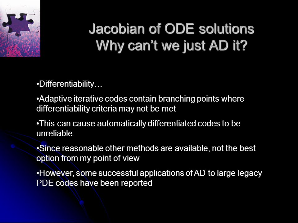 Jacobian of ODE solutions Why can't we just AD it.