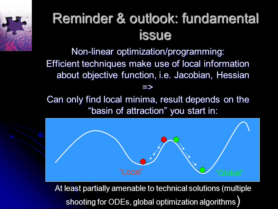 Reminder & outlook: fundamental issue Non-linear optimization/programming: Efficient techniques make use of local information about objective function, i.e.