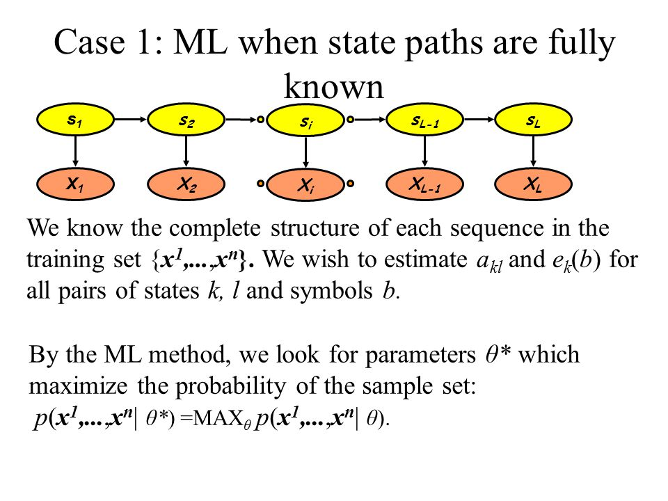 Case 1: ML when state paths are fully known We know the complete structure of each sequence in the training set {x 1,...,x n }.