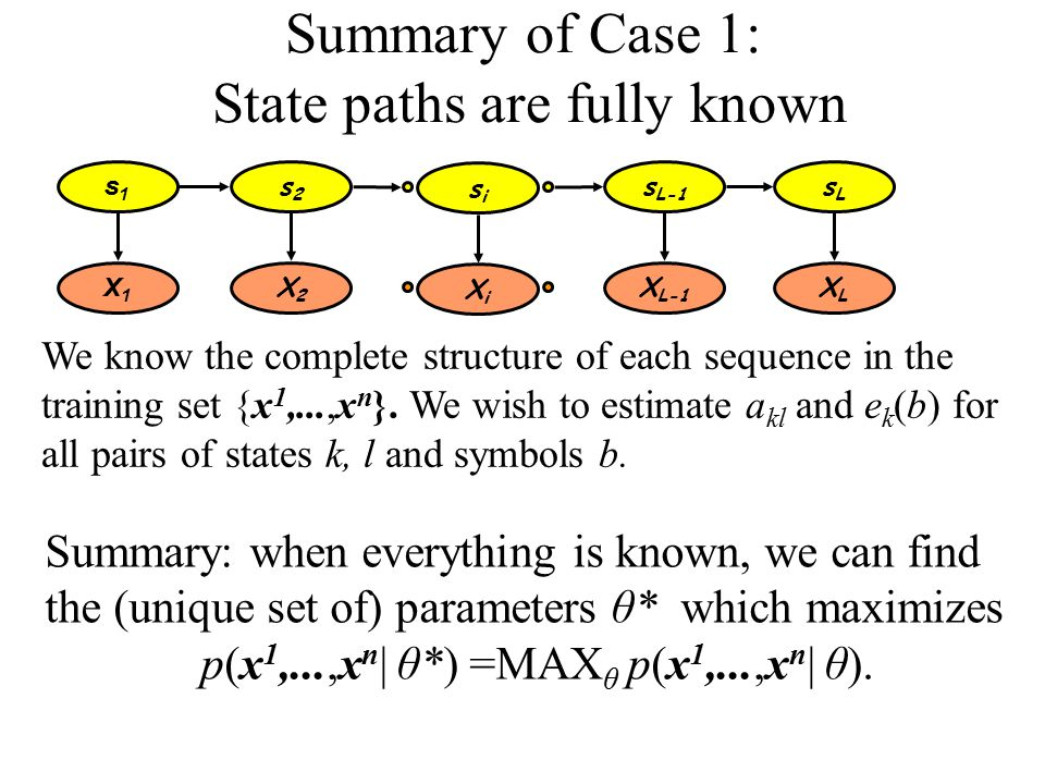 Summary of Case 1: State paths are fully known We know the complete structure of each sequence in the training set {x 1,...,x n }.