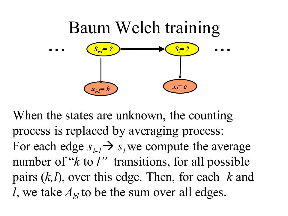 Baum Welch training When the states are unknown, the counting process is replaced by averaging process: For each edge s i-1  s i we compute the average number of k to l transitions, for all possible pairs (k,l), over this edge.