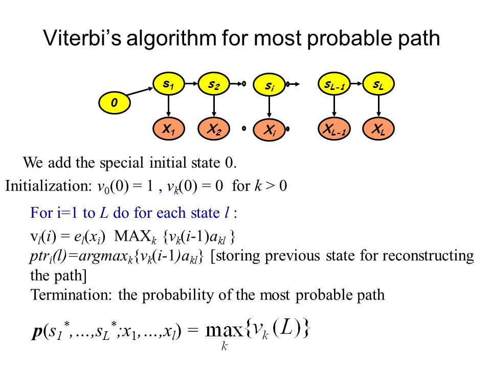 Viterbi's algorithm for most probable path s1s1 s2s2 s L-1 sLsL X1X1 X2X2 X L-1 XLXL sisi XiXi For i=1 to L do for each state l : v l (i) = e l (x i ) MAX k {v k (i-1)a kl } ptr i (l)=argmax k {v k (i-1)a kl } [storing previous state for reconstructing the path] Termination: the probability of the most probable path Initialization: v 0 (0) = 1, v k (0) = 0 for k > 0 0 We add the special initial state 0.
