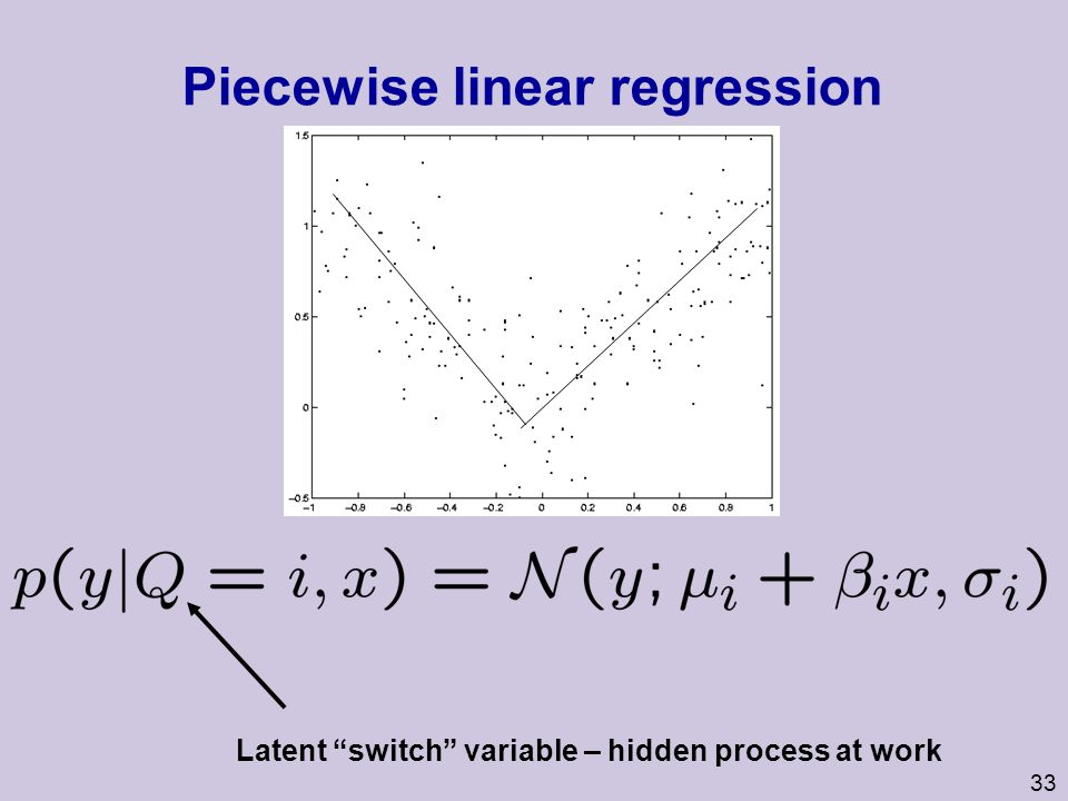 34 Probabilistic graphical model for piecewise linear regression X Y Q Hidden variable Q chooses which set of parameters to use for predicting Y.