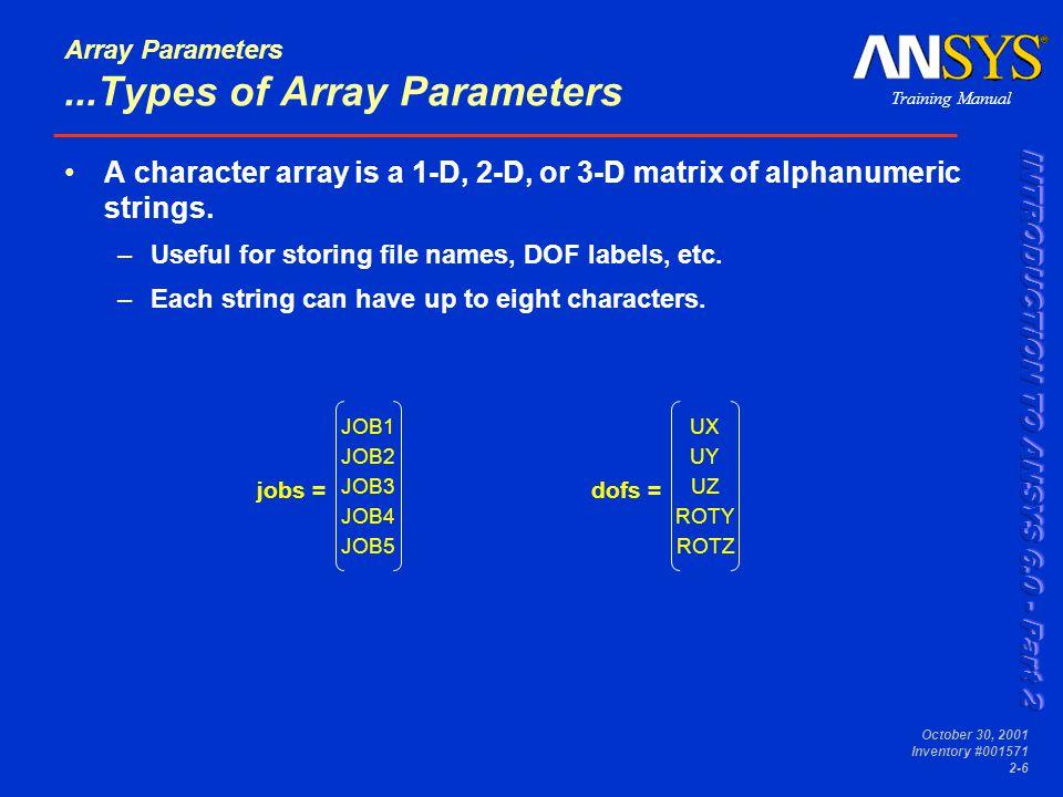 Training Manual October 30, 2001 Inventory #001571 2-17 Array Parameters...Array Operations *VSCFUN determines properties of an array parameter.