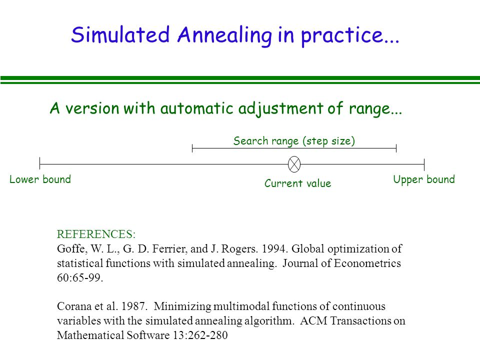 Simulated Annealing in practice... REFERENCES: Goffe, W.