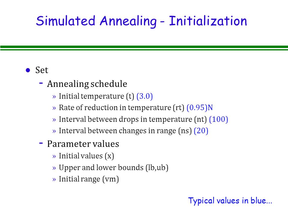 Simulated Annealing - Initialization l Set - Annealing schedule »Initial temperature (t) (3.0) »Rate of reduction in temperature (rt) (0.95)N »Interval between drops in temperature (nt) (100) »Interval between changes in range (ns) (20) - Parameter values »Initial values (x) »Upper and lower bounds (lb,ub) »Initial range (vm) Typical values in blue...