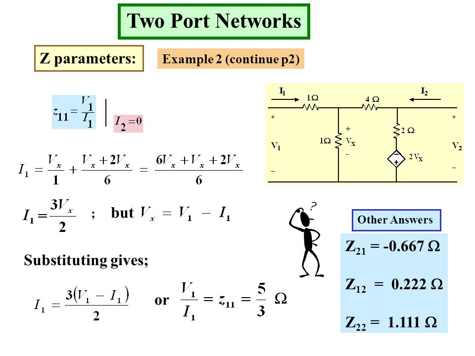 Two Port Networks Z parameters: Example 2 (continue p2) ; but Substituting gives; or Z 21 = -0.667  Z 12 = 0.222  Z 22 = 1.111  Other Answers