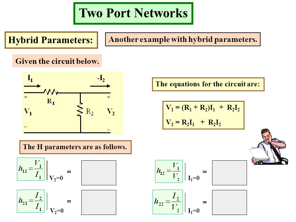 1 - 1 Two Port Networks Hybrid Parameters: Another example with hybrid parameters. Given the circuit below. The equations for the circuit are: V 1 = (