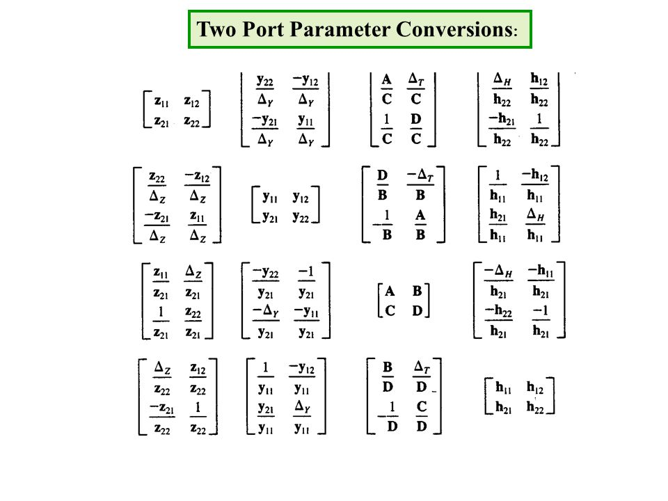 Two Port Parameter Conversions :
